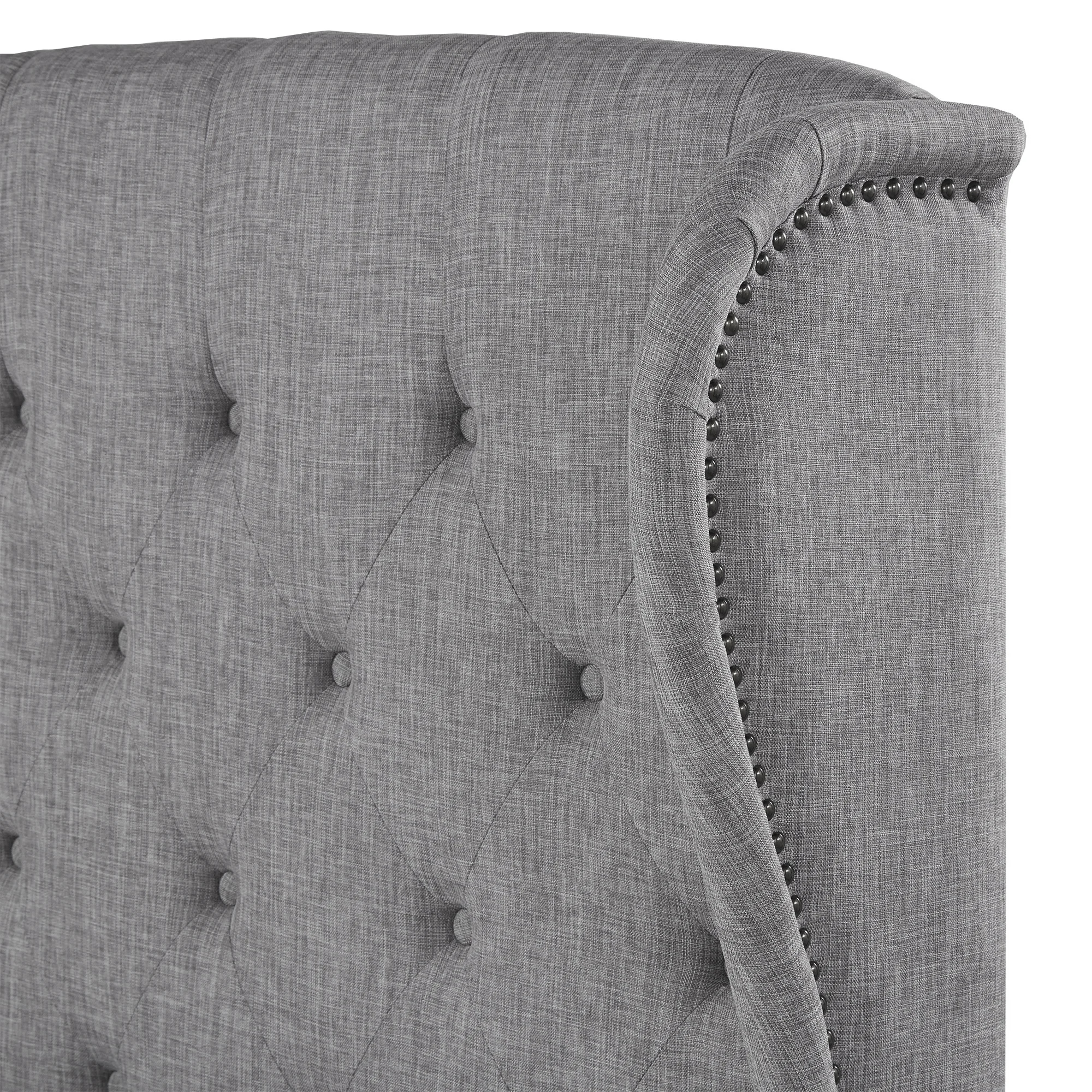 Diningzhi Modern Tufted Linen Fabric French Luxury Bed with Nailhead Trim