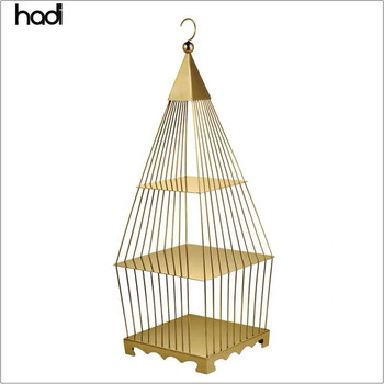 Catering supplies buffet stainless steel high tea stand 3 tier display bird cage luxury gold wedding bird cage