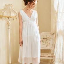 Женское белое кружевное ночное белье, ночная рубашка для невесты, женское милое платье принцессы для сна, женское кружевное сексуальное ноч...(Китай)