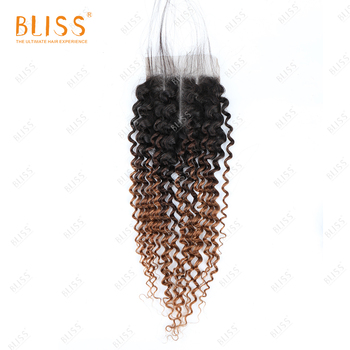 Bliss Color Hair 4x4 Lace Closure T1B-4-30 Kinky Curly Peruvian Cuticle Aligned Human Hair Frontal Lace Closure with Bundles