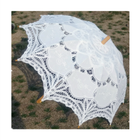 Chinese Hot Sale White Lace Parasol Wood Handle Wedding Decorative Umbrellas for Photography Travel