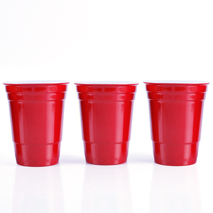 "Smoke House Reusable Red Plastic Water Glass Dia 3.85"" x H 4.72"" Inch 16 oz Water Cup (Solo) Made of 100% Melamine Cup"