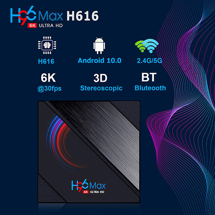 H96 Max H616 Android 10.0 Smart TV Box 2.4G&5.8G Wifi 1080P 4K Bluetooth 4.0 Support Youtube H96Max Media Player Set top Box