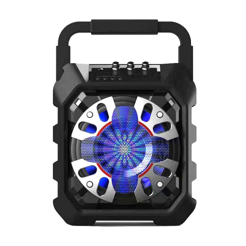 6.5 Inch Bass Ontwerp Plastic Kleine Mini Draagbare Telefoon Bluetooth Handvat Trolley Luidspreker Met Batterij Disco Lichten Woffer En Fm