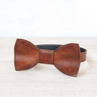 Leather wedding bow tie with adjustable length Groomsman Best man gift bow tie