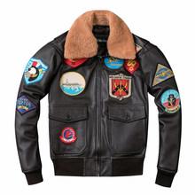 2020 для мужчин полета пилот кожаная куртка с шерстяным воротником и размера плюс XXXL из натуральной кожи теплые зимние российские солнцезащи...(Китай)