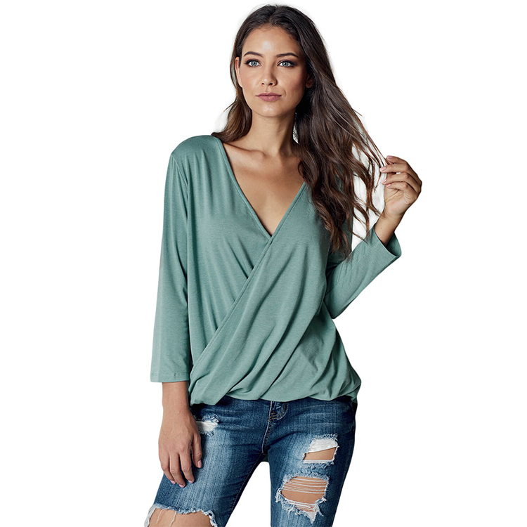 Women's Casual Long Sleeve V-Neck Twist Front Blouse Shirt Loose Tunic Tops