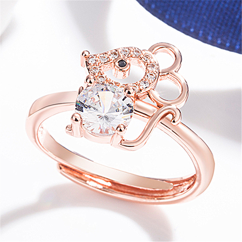 JJH015 Trade Assurance 2020 New Design Fashion Mouse Studded with Crystal Ring  Cute Animal Women Adjustable Ring