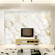 Обои без столярных работ, Настенные обои из золотого шелка с белым мрамором, обои для домашнего декора гостиной, спальни(Китай)