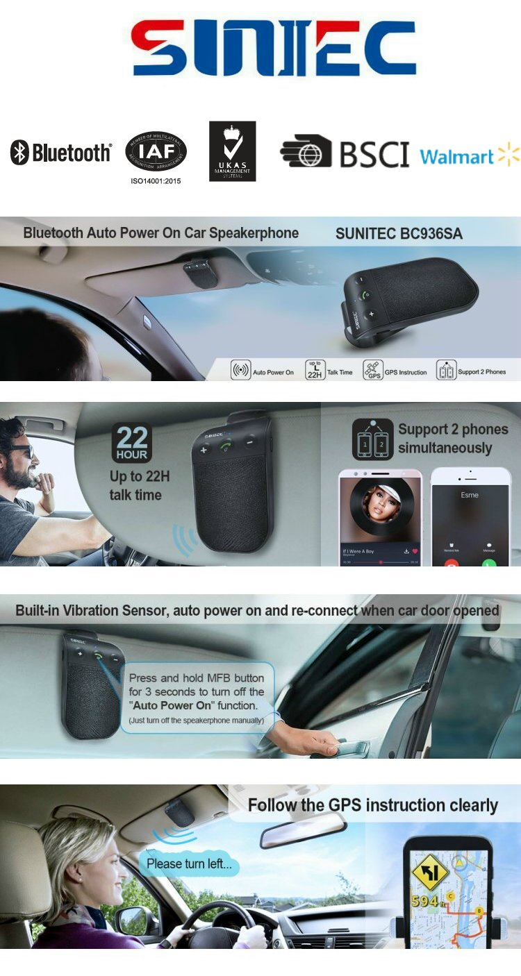 Multipoint universal wireless visor bluetooth car kit speakerphone for cars handsfree