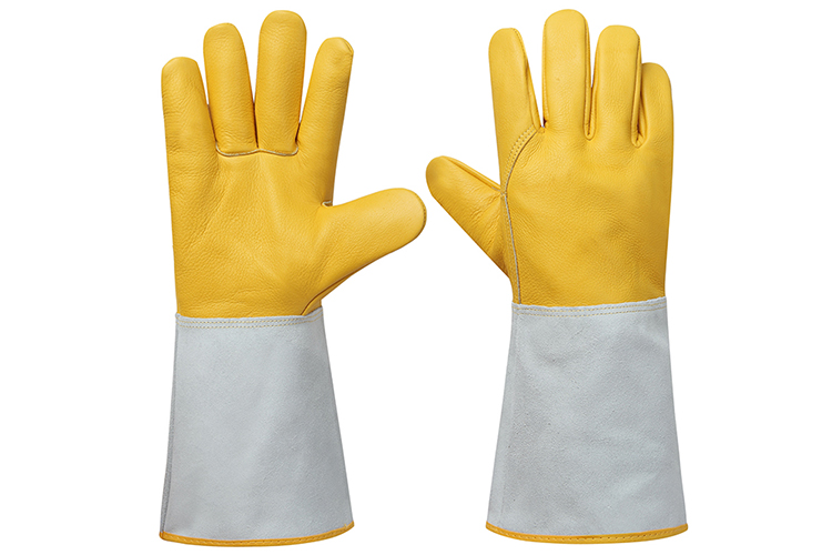 Anti-cut high temperature fire resistant tig welding top pig grain cow split leather gloves manufacturers