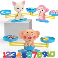 Cartoon Dog Monkey Pig Early Learning Educational Balance Math Counting Board Game Toy For Kids