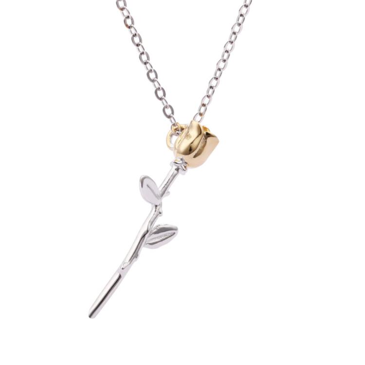 Оптовая продажа, Модные женские ювелирные изделия для влюбленных на День святого Валентина, серебро 925 пробы, цветок розы, костюм, ожерелье для подарка