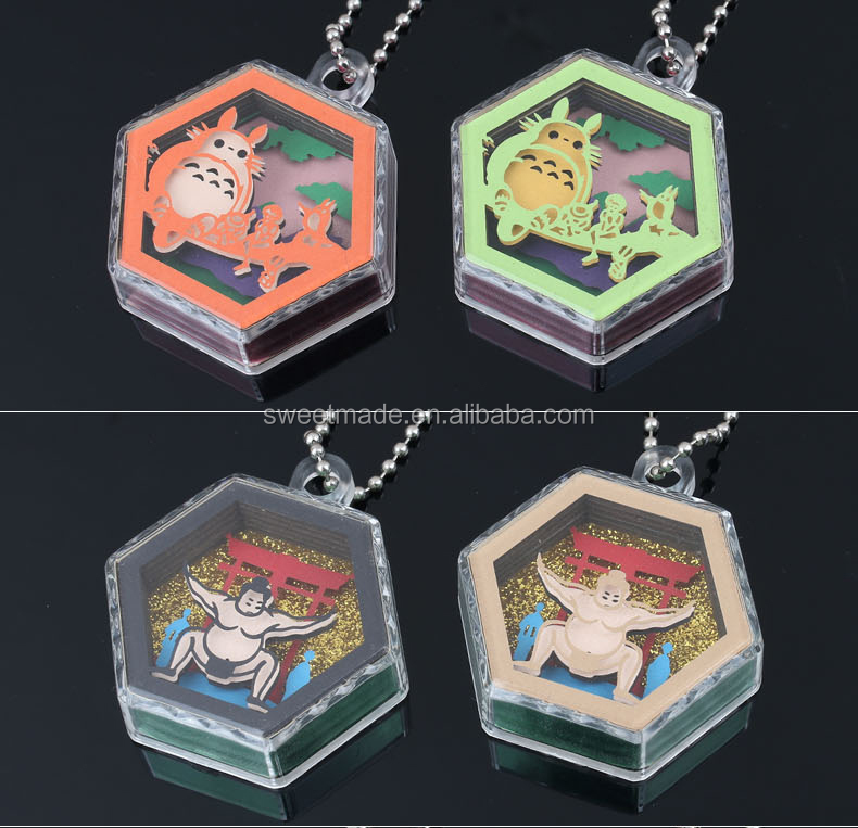 High Quality Japan Favor Plastic Souvenir Custom Printed Logo Clear Glitter 3D paper carvingf Acrylic Keychain