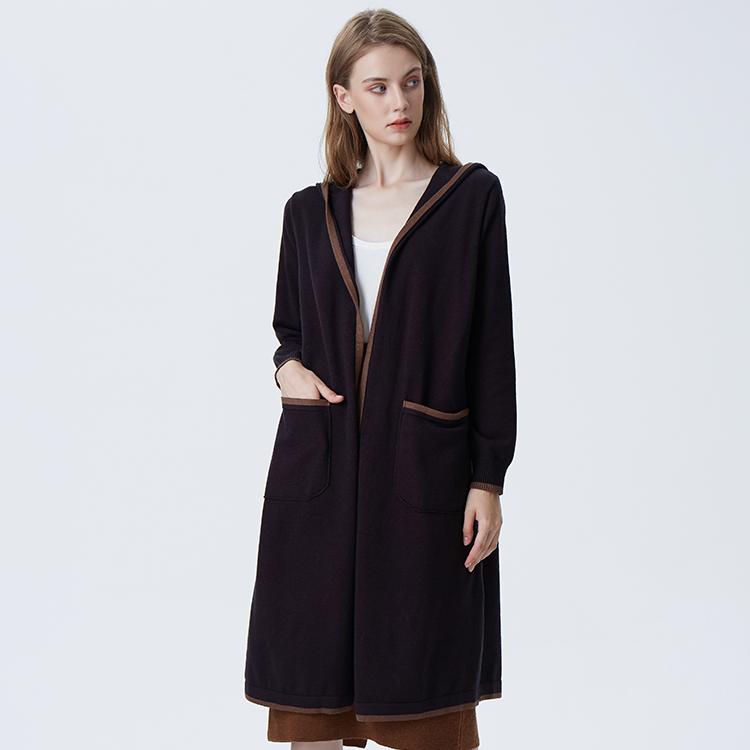Style De la Mode coréenne Dames Cardigan Pull Femmes Plus la Taille Longue Cardigan avec Capuche