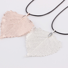 latest design real leaf rose gold jewelry sets necklace for women