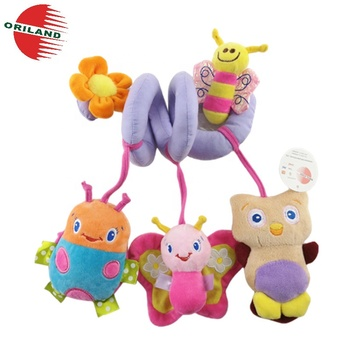 Safe educational plush stuffed animals baby bed hanging crib soft toys