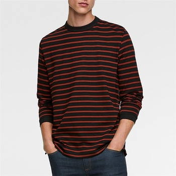 OEM 100% cotton black and red long sleeve striped t-shirt for men