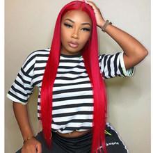 Блонд, розовый, красный, серый, зеленый, фиолетовый, желтый, кружевные передние человеческие волосы, парики, цветные, 13х4 prepucked бразильский Ре...(Китай)