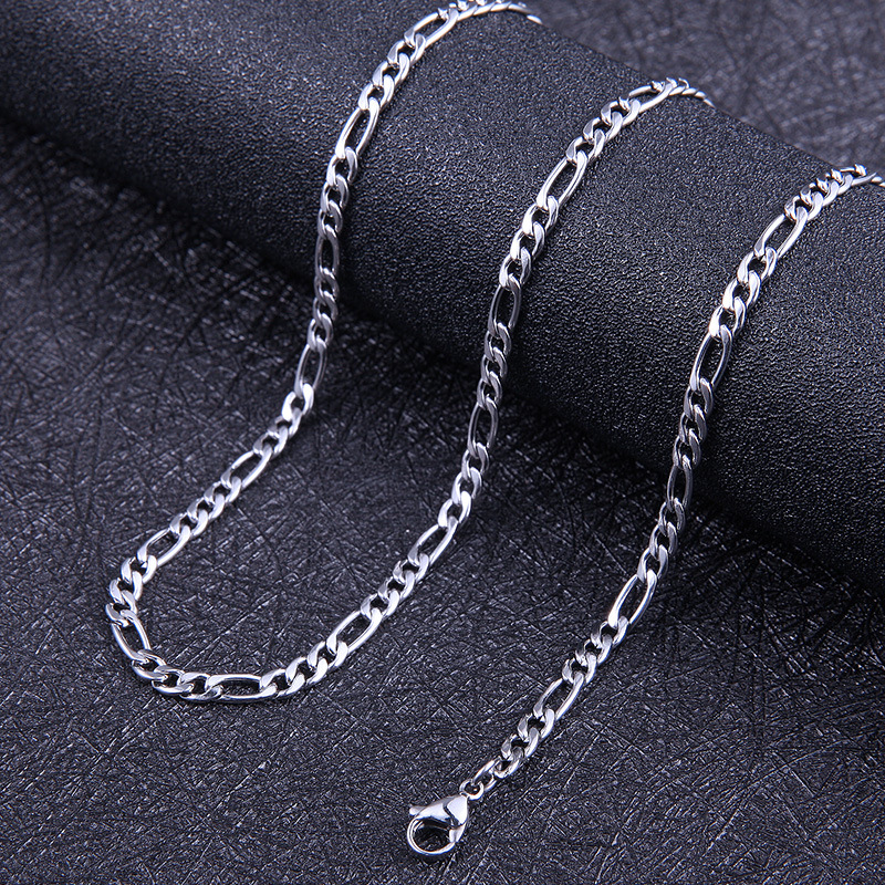 Men Stainless Steel Gold Plated Figaro Chain Necklace