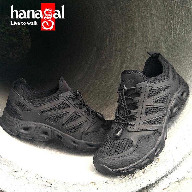 รองเท้าเดินป่ากันน้ำสีดำกันลื่นพร้อมพื้นรองเท้าPU,รองเท้าเดินป่าสำหรับฤดูร้อน