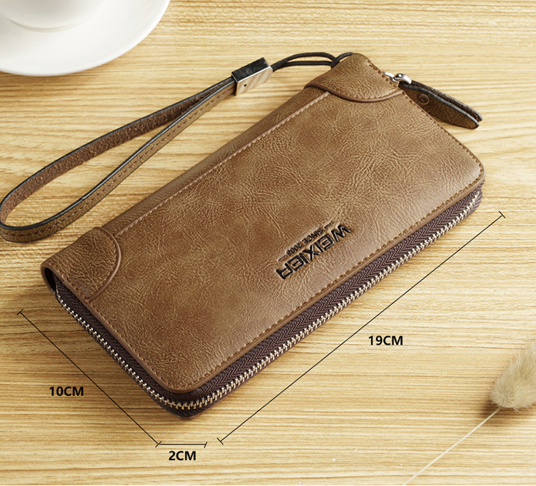 Factory custom long business casual clutch bag mens vintage zipper wallet leather for men