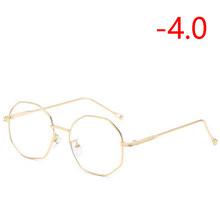 Неправильный многоугольник очки для близоруких с градусом женщин прозрачное зеркало металла готовой близорукости очки SPH-0,5-1,0 To-4,0(Китай)