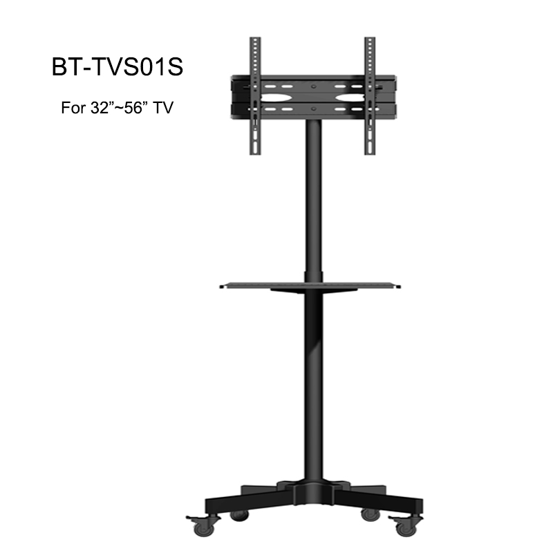 Height Adjustable Black Mobile Tv Cart with Wheels for 23-56 Inch Lcd Led Plasma Flat Screen Panel TVs