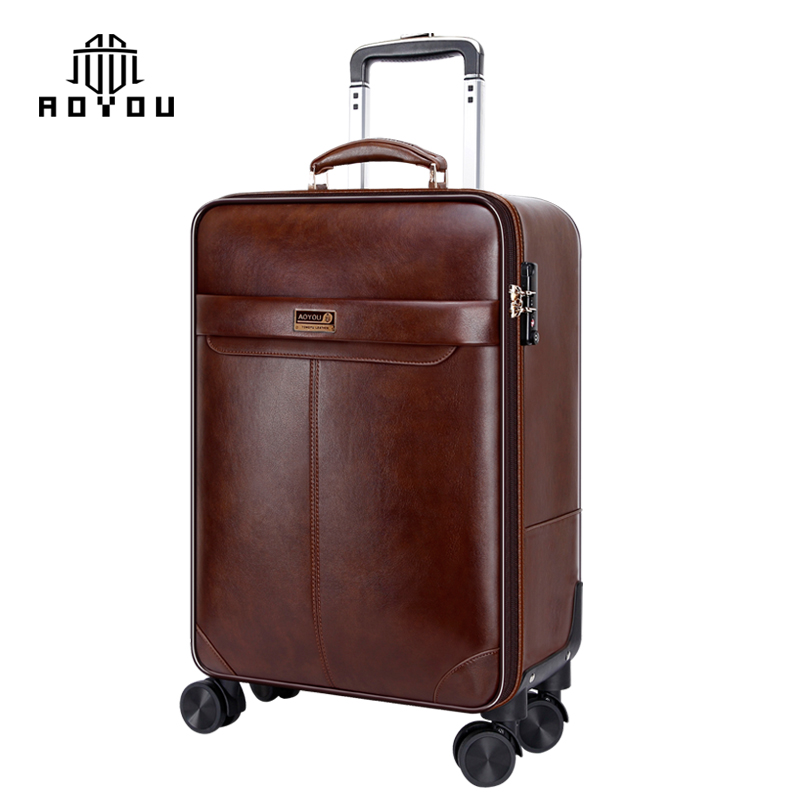 Wholesale trolley luggage set suitcase with 4 Spinner 360 Degree Wheels PU leather luggage