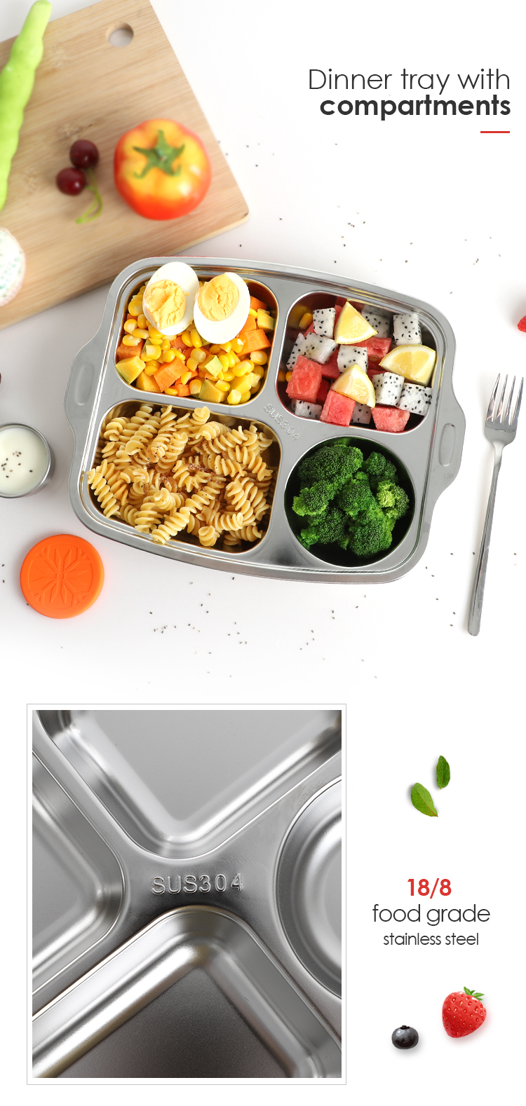 Nicety car kids 304 stainless steel food breakfast metal serving tray 4 compartment lunch buffet tray