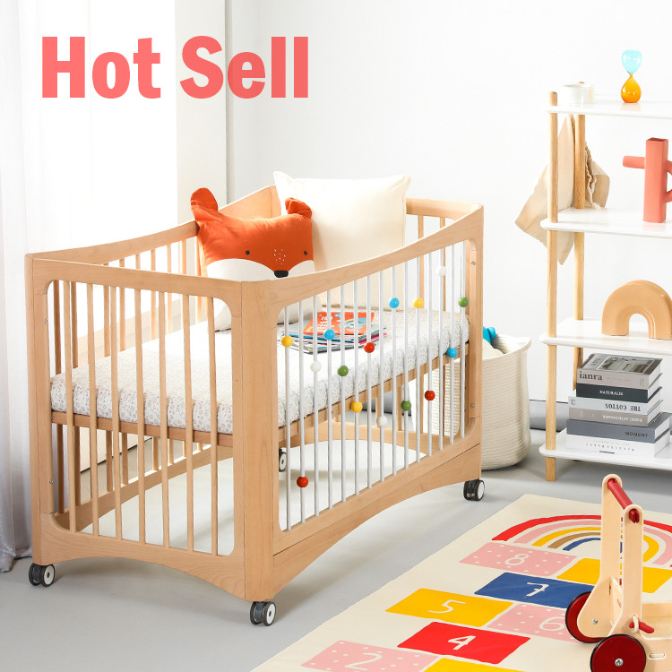 Customized No paint In stock Professional manufacturer High Quality Unique Solid Convertible wooden wood kid baby cot bed crib