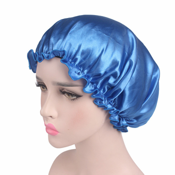 New Arrival Solid Adjust Women Satin Bonnet Cap Night Sleep Hair Head Cover Wide Band Elastic Hat Black White Blue Pink Gold