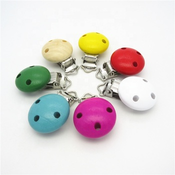 Factory supply popular colorful safety round wooden baby suspender clips