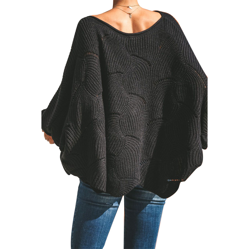Wave Hem Long Batwing Sleeve Hollow Out Elegant Sweater