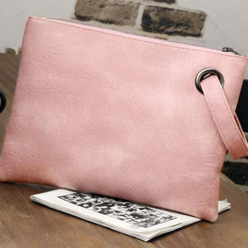 Pure Color Clutch Wholesale Fashion Large Capacity PU Leather Shopping Solid Color Retro Wristlet Bag