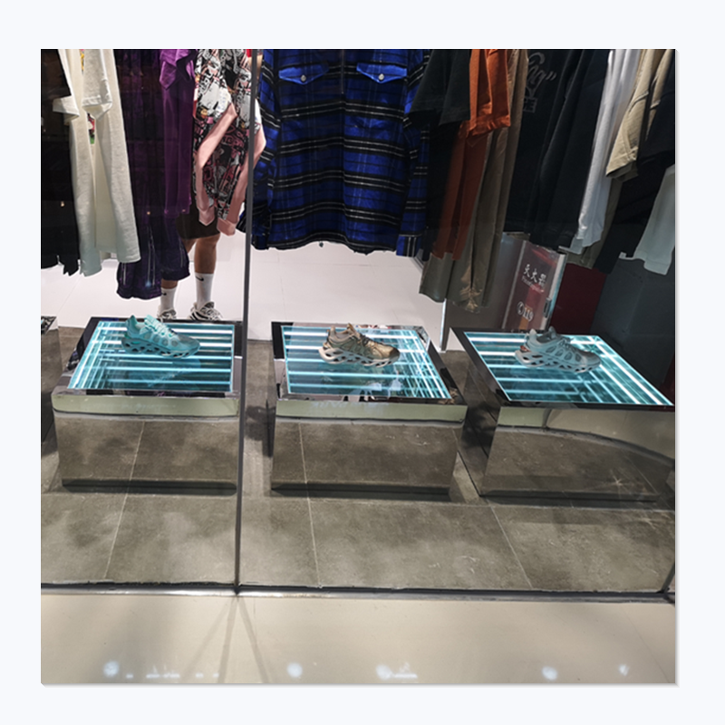 Customized Fashion Style Stainless Acrylic Combination Display Box with LED Strip Light for Sportswear Shoe Store