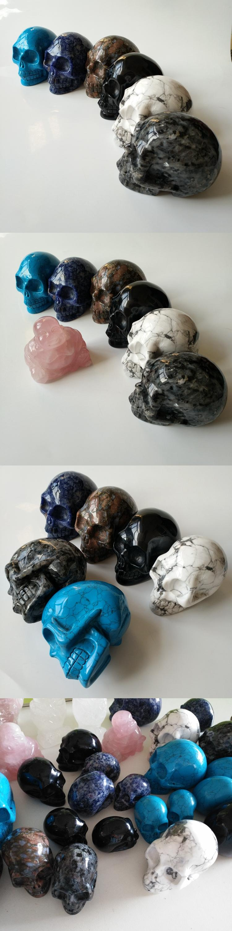 Home decoration mini labradorite crystal skulls black gemstone