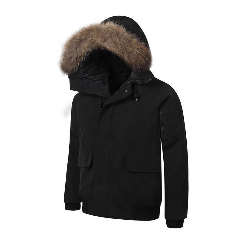 สีดำปักเป้าเป็ดลงเสื้อ Unisex ที่ดีที่สุดขายเสื้อปักเป้ากับ Faux FUR Hood Mens PUFFER แจ็คเก็ต