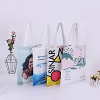 Custom wholesale reusable cheap fabric tote recycle print recycle eco friendly shopping bag grocery cotton canvas shopping bags