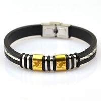 Promotional gold mens stainless steel metal bracelet with rubber