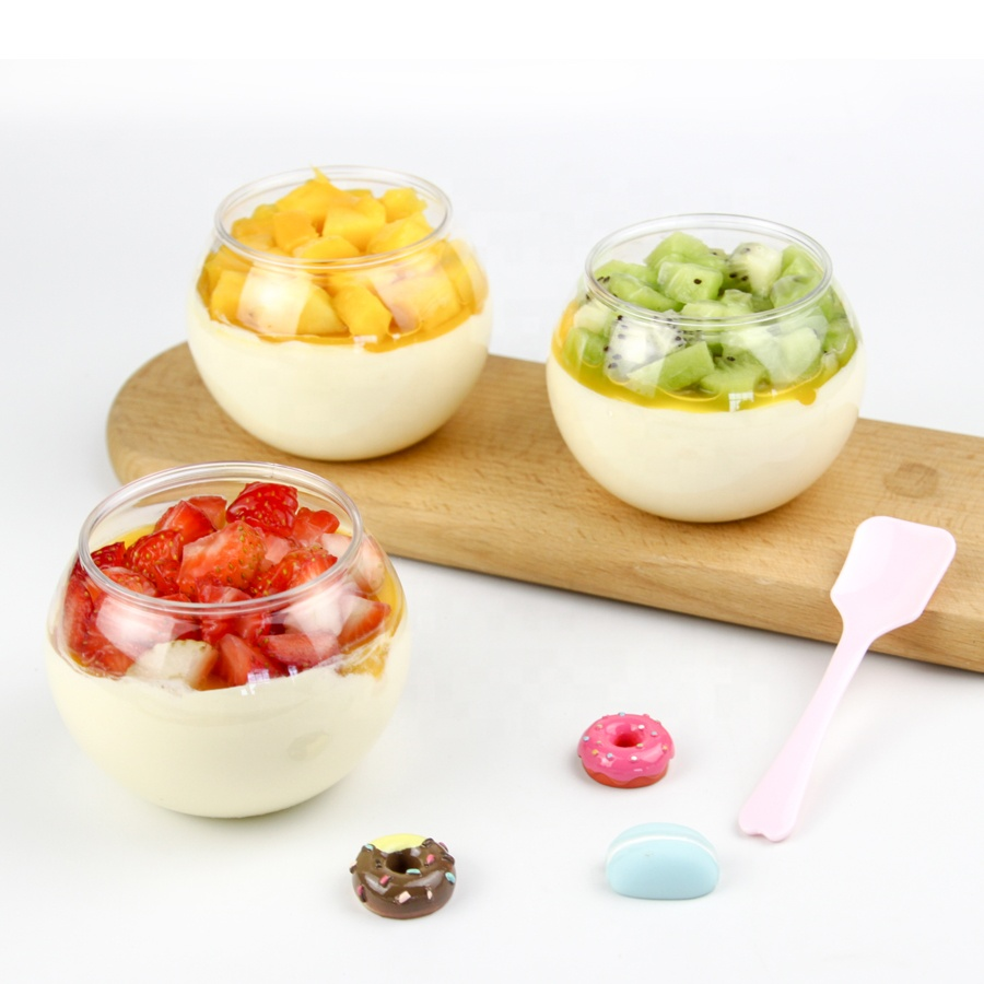 Runde ball PET Dessert tassen Transparent Einweg tassen Custom design kunststoff pudding tasse