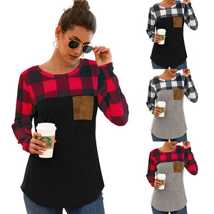Christmas Women Pullover Sweaters Round Neck Plaid Long Sleeve Pocket Shirt Tops Blouse