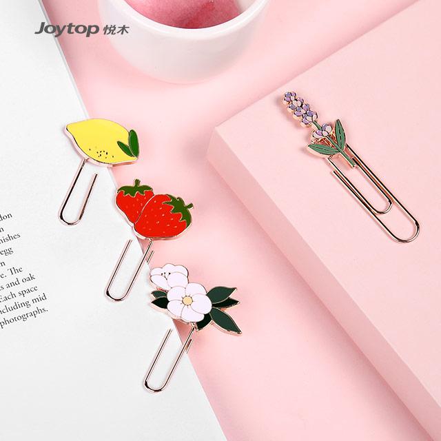 Joytop 5308 perfumado frutas novidade logotipo personalizado de metal clipe de papel dos artigos de papelaria da escola