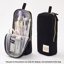 Angoo [Simple] чехол для карандашей, белый цвет, Молодежные парусиновые ручки, держатель для телефона, сумка для хранения канцелярских принадлежн...(Китай)