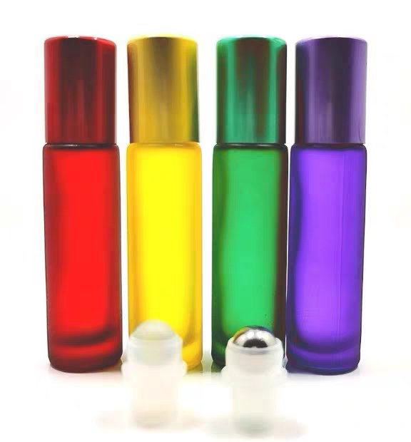 Colorful  Essential Oil Vials Frosted glass roll on bottle with gemstone roller