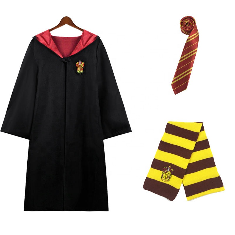 Halloween Party Costume HarryPotter Robe Cloak Gown Cosplay Costume Clothes Wands Scarf Tie Cosplay Suits