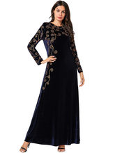 Арабское золото бархат вышитые абайя индийская одежда для женщин Punjabi Kurta вечерние макси с длинным рукавом пакистанские платья Caftan Mar(Китай)