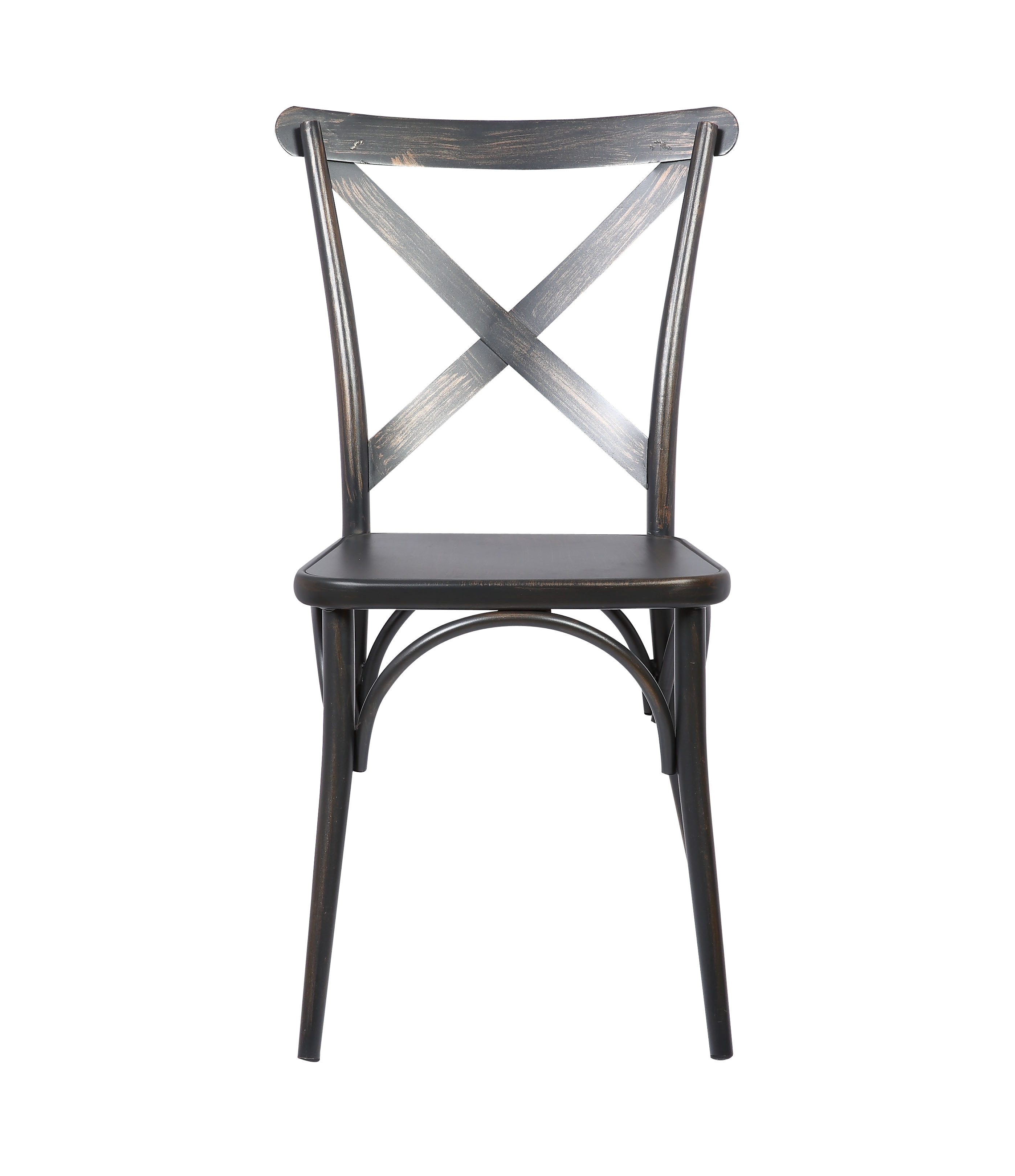Hot sale high quality vintage stackable wooden like metal cross back x modern dining chair