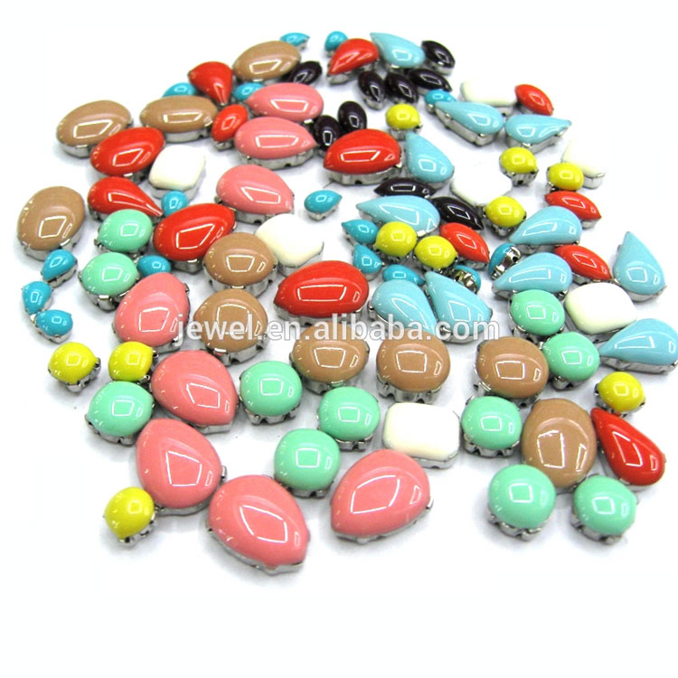 Milk Pastel Neon Candy Color Sew On Tear Drop Resin Stone With Dots Resin Diamond Stone In Rhinestones(Crystal Ab) Wholesale
