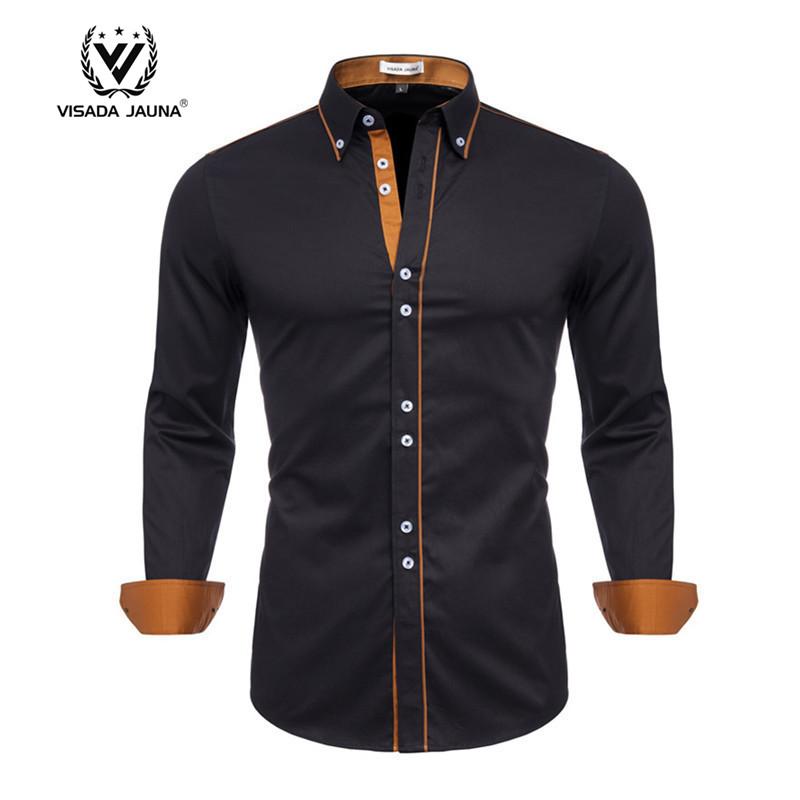 플러스 사이즈 긴 소매 턱시도 100% 코튼 사회 캐주얼 드레스 망 셔츠 Camisas